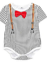 cheap -Baby Girls' Basic Daily Striped Bow / Printing Short Sleeves Cotton Bodysuit Blue