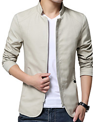 cheap -Men's Daily Fall Regular Jacket, Solid Colored Stand Long Sleeve Polyester Beige / Navy Blue / Yellow