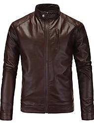 cheap -Men's Daily Plus Size Regular Leather Jacket, Solid Colored Stand Long Sleeve PU Black / Red