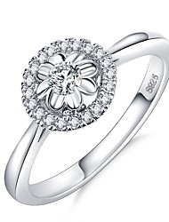 cheap -Women's Ring 1pc Silver Brass Platinum Plated Imitation Diamond Circle Ladies Elegant Romantic Wedding Formal Jewelry Classic Stylish Halo Flower Love Cute