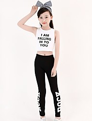 cheap -Jazz Outfits Girls' Performance Spandex Ruching Sleeveless Dropped Top / Pants