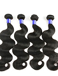 Недорогие -4 Связки Малазийские волосы Естественные кудри Натуральные волосы Человека ткет Волосы Удлинитель One Pack Solution 8-28 дюймовый Естественный цвет Ткет человеческих волос / 8A