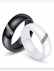 cheap -Couple's Ring AAA Cubic Zirconia 1pc White Black Titanium Steel Ceramic Round Ladies Stylish Simple Gift Date Jewelry Stylish Matching His And Her Relationship