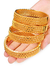 cheap -4pcs Women's Bracelet Bangles Cuff Bracelet Classic Hollow Out Creative Ladies Luxury Ethnic Dubai Italian Gold Plated Bracelet Jewelry Yellow For Party Gift