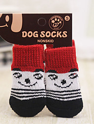 cheap -Dog Cat Pets Boots / Shoes Socks Simple Classic Stars Braided / Cord Cute Dog Clothes Red Pink Green Costume Acrylic Fibers S M L