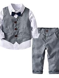 abordables -Enfants Bébé Garçon Actif Basique Soirée Quotidien Couleur Pleine Imprimé Manches Longues Normal Normal Coton Ensemble de Vêtements Blanche