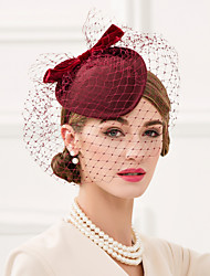 cheap -Tulle / 100% Wool Kentucky Derby Hat / Hats with Bowknot 1pc Wedding / Party / Evening Headpiece