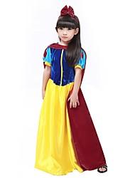 cheap -Princess Costume Flower Girl Dress Teen Girls' A-Line Slip Halloween Halloween Carnival Children's Day Festival / Holiday Polyster Yellow Carnival Costumes Solid Colored Halloween / Headwear