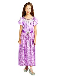 cheap -Princess Costume Flower Girl Dress Kids Girls' A-Line Slip Halloween Halloween Carnival Children's Day Festival / Holiday Polyster Purple Carnival Costumes Solid Colored Halloween