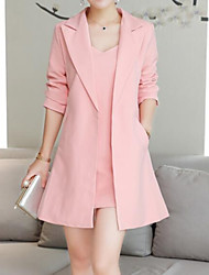 cheap -Women's Daily / Work Basic Long Suits, Solid Colored Peaked Lapel Half Sleeve Cotton / Linen / Acrylic Blushing Pink