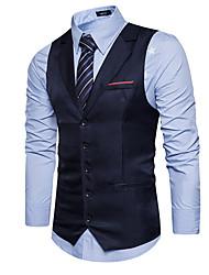 cheap -Men's Work Regular Vest, Solid Colored V Neck Sleeveless Polyester Black / Navy Blue / Khaki