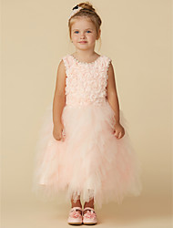 cheap -A-Line Tea Length Wedding / Party / Pageant Flower Girl Dresses - Tulle Sleeveless Jewel Neck with Lace