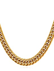 cheap -Men's Chain Necklace Thick Chain Foxtail chain franco chain Trendy Fashion Stainless Steel Gold Black Silver 55 cm Necklace Jewelry 1pc For Gift Daily