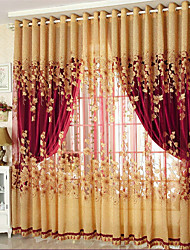 cheap -Blackout Curtains Drapes Two Panels Living Room Floral 100% Polyester Jacquard