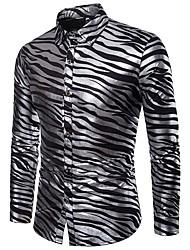 cheap -Men's Party Daily Club Luxury / Basic / Sexy Shirt - Striped Print Black / Long Sleeve