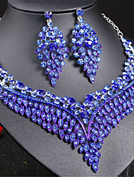 cheap -Women's Sapphire Drop Earrings Choker Necklace Statement Necklace Thick Chain Hollow Love Blessed Ladies Luxury European Elegant Rhinestone Austria Crystal Earrings Jewelry Rainbow / Red / Blue For