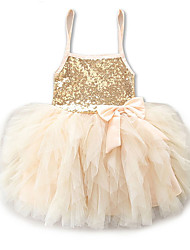 cheap -Toddler Girls' Sweet Cute Holiday Going out Solid Colored Lace Sequins Layered Sleeveless Mini Above Knee Dress Gold / Ruched / Pleated / Mesh