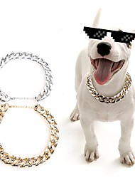 cheap -Dogs Cats Pets Necklace Dog Clothes Gold Silver Costume Husky Labrador Alaskan Malamute Plastic Solid Colored Sports & Outdoors Stylish M