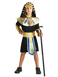 cheap -Pharaoh Costume Boys' Teen Halloween Halloween Carnival Children's Day Festival / Holiday Polyster Outfits Black Solid Colored Halloween