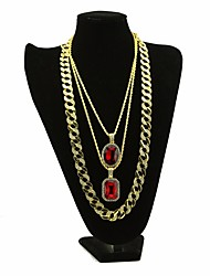 cheap -Men's AAA Cubic Zirconia Statement Necklace Long Necklace Layered Retro Thick Chain Creative Dubai Hip Hop Alloy Gold 30/54/76 cm Necklace Jewelry 3pcs For Carnival Club Cosplay Costumes / Solitaire