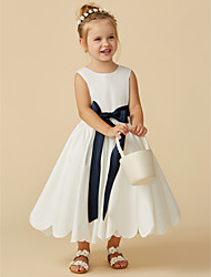 cheap -A-Line Tea Length Wedding / First Communion Flower Girl Dresses - Taffeta Sleeveless Jewel Neck with Sash / Ribbon / Pleats