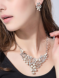 cheap -Women's Necklace / Earrings Ladies Imitation Pearl Rhinestone Silver Plated Earrings Jewelry Silver / Golden For Party Daily