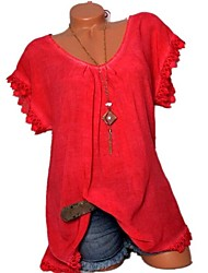 cheap -Women's Daily Basic Loose Shirt - Solid Colored Lace Blushing Pink / Summer
