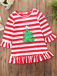 cheap -Baby Girls' Active / Basic Striped / Print Tassel / Embroidered Long Sleeve Regular Dress Red / Toddler