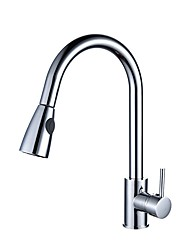 cheap -Kitchen faucet - Single Handle One Hole Chrome Pull-out / ­Pull-down / Tall / ­High Arc Vessel / Brass