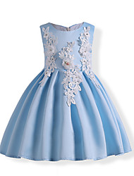 cheap -Kids Toddler Girls' Vintage Sweet Party Holiday Floral Lace Bow Print Short Sleeve Knee-length Dress Light Blue / Cotton