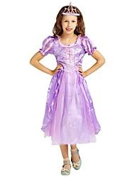 cheap -Princess Costume Flower Girl Dress Child's Girls' A-Line Slip Halloween Halloween Carnival Children's Day Festival / Holiday Polyster Purple Carnival Costumes Solid Colored Halloween / Headwear