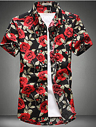 cheap -Men's Daily Basic Plus Size Cotton Slim Shirt - Floral Patchwork / Print Blue / Short Sleeve / Summer