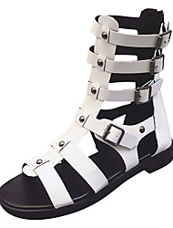 cheap -Women's PU(Polyurethane) Summer Gladiator Sandals Flat Heel White / Black