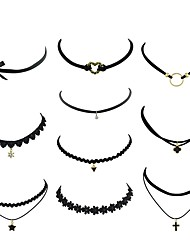 cheap -Women's Tourmaline Choker Necklace Single Strand Heart Flower Ladies Simple Fashion PU Leather Lace Alloy Black 40 cm Necklace Jewelry 10pcs For Party / Evening School