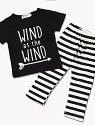 cheap -Baby Boys' Active / Street chic Daily / Holiday Striped Print Short Sleeve Regular Clothing Set Black / Toddler