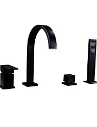 cheap -Bathtub Faucet - Traditional Oil-rubbed Bronze Widespread Ceramic Valve Bath Shower Mixer Taps / Single Handle Four Holes