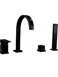 Недорогие -Смеситель для ванны - Традиционный Начищенная бронза Разбросанная Керамический клапан Bath Shower Mixer Taps / Одной ручкой четыре отверстия