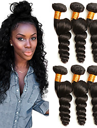 cheap -3 Bundles Brazilian Hair Loose Wave Human Hair Headpiece Natural Color Hair Weaves / Hair Bulk Extension 8-28 inch Black Natural Color Human Hair Weaves Woven Best Quality Hot Sale Human Hair / 8A
