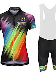cheap -Malciklo Women's Cycling Jersey with Bib Shorts - White / Black Rainbow Plus Size Bike Bib Shorts Jersey Quick Dry Anatomic Design Reflective Strips Sports Lycra Rainbow Mountain Bike MTB Road Bike