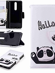 cheap -Case For Nokia Nokia 5 / Nokia 3 / Nokia 2.1 Wallet / Card Holder / with Stand Full Body Cases Panda Hard PU Leather
