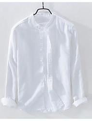cheap -Men's Daily Work Linen Shirt - Solid Colored Standing Collar Light Blue / Long Sleeve / Spring