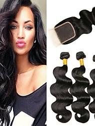 cheap -3 Bundles with Closure Peruvian Hair Wavy Virgin Human Hair Human Hair 335 g Hair Weft with Closure 8-24 inch Black Natural Color Human Hair Weaves Easy dressing Natural Best Quality Human Hair / 10A