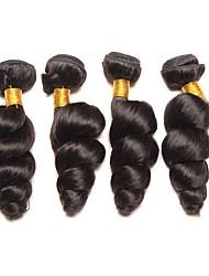 cheap -4 Bundles Peruvian Hair Loose Wave Human Hair Natural Color Hair Weaves / Hair Bulk Hair Care Extension 8-28 inch Natural Color Human Hair Weaves Cosplay Hot Sale Thick Human Hair Extensions / 8A