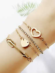 cheap -4pcs Women's Chain Bracelet Stylish Heart Ladies Simple Classic Fashion Alloy Bracelet Jewelry Gold For Formal Office & Career