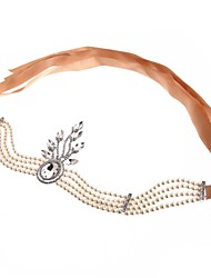 cheap -The Great Gatsby Charleston Vintage 1920s Flapper Headband Women's Lace up Rhinestones Costume Head Jewelry Golden / White Vintage Cosplay