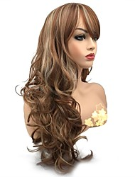 cheap -Synthetic Wig Curly Side Part Wig Long Medium Auburn Synthetic Hair Women's Synthetic Light Brown StrongBeauty