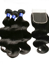 cheap -3 Bundles with Closure Brazilian Hair Wavy Human Hair Natural Color Hair Weaves / Hair Bulk One Pack Solution Human Hair Extensions 8-20 inch Natural Human Hair Weaves Best Quality New Arrival Hot