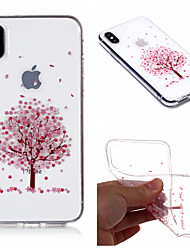 cheap -Case For Apple iPhone X / iPhone 8 Plus / iPhone 8 IMD / Transparent / Pattern Back Cover Tree / Flower Soft TPU