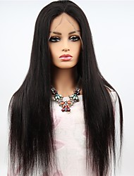 cheap -Remy Human Hair Full Lace Wig Asymmetrical style Brazilian Hair Straight Black Wig 130% 150% 180% Density Women Easy dressing Sexy Lady Natural Best Quality Women's Long Human Hair Lace Wig PERFE