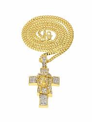 cheap -Men's AAA Cubic Zirconia Pendant Necklace Classic Stylish Hope Faith Stylish Unique Design European Copper Alloy Gold Silver 60 cm Necklace Jewelry 1pc For Christmas Festival
